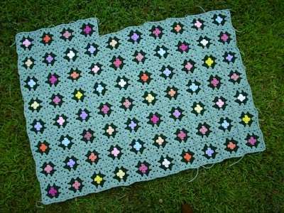 183 Flower Garden Granny - seven rows completed