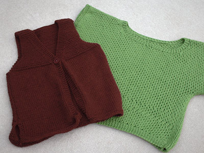 350 - two yarn sweaters, one rust vest and one green top