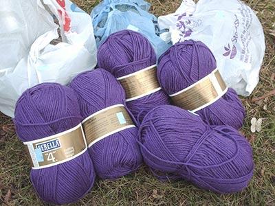 399 purple yarn & 3 more bags