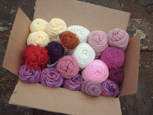 407A bulging box of yarns