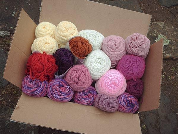 407A bulging box of yarns
