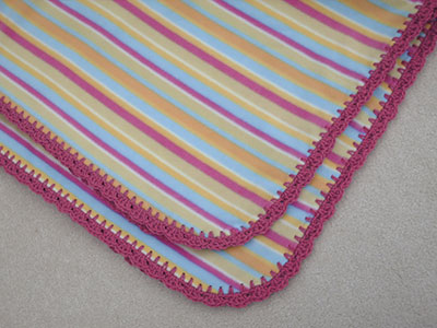 474 striped fleece with crocheted edging