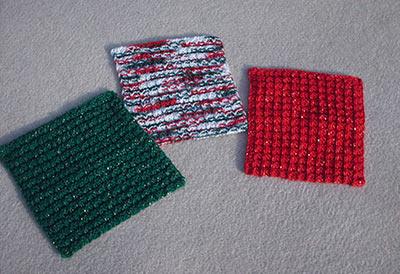 614 3 Christmas washcloths